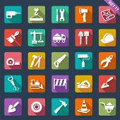 stock photo of reconstruction  - Building and tools icons - JPG