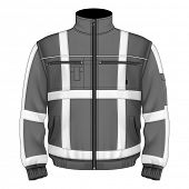 Photo-realistic vector illustration. Men's reflective safety jacket black (front view). Illustration contains gradient mesh.