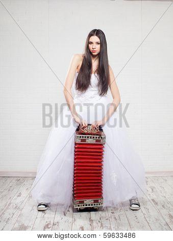 Runaway Bride with Russian accordion  Bride sneakers  Wedding poster