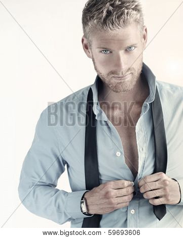 Sexy portrait of a young confident businessman poster