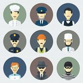 stock photo of designated driver  - Set of Circle Flat Icons with Man of Different Professions - JPG