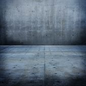 Raw concrete space. concrete wall and floor.