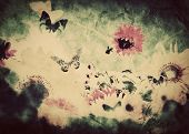 Vintage image of flowers and butterfly at spring summer time. Retro, grunge style texture or background