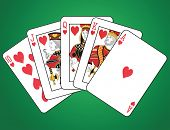Royal Flush of Hearts on green background. The figures are original design.