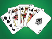 Royal Flush of Spades on green background. The figures are original design.