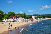 People On The Beach In Sopot, Poland.
