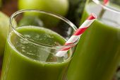 foto of kale  - Healthy Green Vegetable and Fruit Smoothi Juice with Apple and Greens - JPG