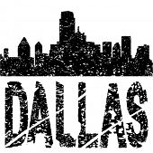 Grunge Dallas skyline with text vector illustration
