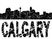 Grunge Calgary skyline with text vector illustration