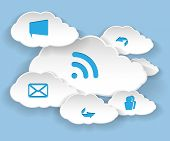 Illustration Clouds for Social Networks on Blue Background. Cloud Computing Concept. Vector.