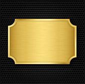 stock photo of iron star  - Gold texture plate on speaker grill background - JPG