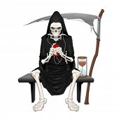 The death sitting on a bench. Isolated vector illustration.