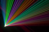 picture of fantail  - Color laser beams fantail in a haze - JPG