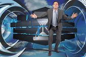 Businessman standing with arms out against abstract blue design in futuristic structure