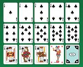 Set of playing cards of Clubs on green background. The figures are original design as well as the jolly, the ace of spades and the back card.