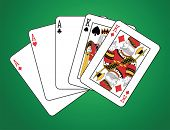 Full house of three aces and two kings on green background.  The figures are original design.