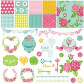 Scrapbook Design Elements - Floral Shabby Chic Theme - in vector
