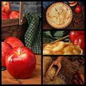 Apple pie collage includes images of fresh apples, cooked apples, sugar and spices, and a freshly ba