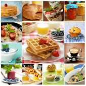 Collage showing delicious breakfast including pancakes, eggs, bagel and  waffles