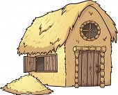 Cartoon Hay House. Vector clip art illustration with simple gradients. Hay house and hay mound on se