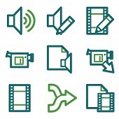Audio video edit web icons, green line set