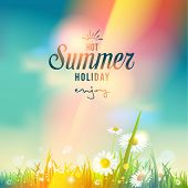 Beautiful summer sunrise or sunset. Vector seasonal illustration.