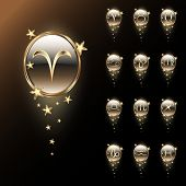 pic of pisces horoscope icon  - Set of astrological zodiac symbols - JPG