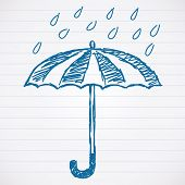 Sketch of umbrella with raindrops Vector