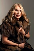 Beauty Fashion Mature Woman In Fur Coat Winter Smiling