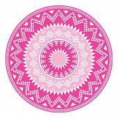 Tribal folk aztec geometric pink pattern in circle