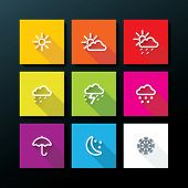 stock photo of rainy weather  - Weather icon set  - JPG