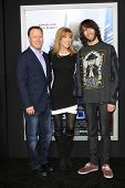 LOS ANGELES - FEB 10: Steve Fenton, Leeza Gibbons, her son, Troy Meadows at the premiere of Columbia Pictures' 'Robocop' at TCL Chinese Theatre on February 10, 2014 in Los Angeles, California
