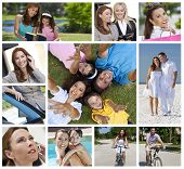 Montage of a successful working woman, mother and wife balancing modern working & family life, on cell phone, using tablet computer, at beach, swimming pool & reading with her daughter