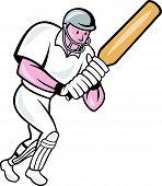 Cricket Player Batsman Batting Cartoon
