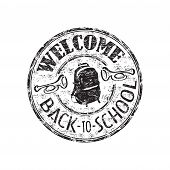 Welcome back to school rubber stamp