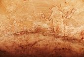 Famous Great God of Sefar one of oldest rock paintings in Sahara, Tassili N'Ajjer, Algeria