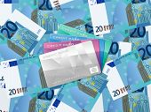 Twenty Euro Background And Credit Card