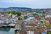 stock photo of zurich  - Zurich Switzerland as seen from the top of Grossmunster - JPG