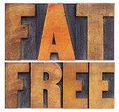 fat  free -nutrition concept - isolated text in vintage letterpress wood type