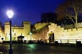 Tower Of London Walls At Night