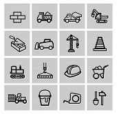 stock photo of skid-steer  - vector black construction icons set - JPG