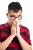 Asia man nose allergic