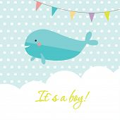 Baby boy shower card with cute whale and flags