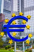 FRANKFURT - OCTOBER 4, 2013: The Euro Sign in Frankfurt, Germany. The sign is part of Eurotower whic