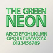 picture of neon green  - Abstract Green Neon Font And Numbers - JPG