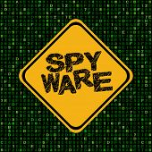 Spyware warning sign on hex code illustration