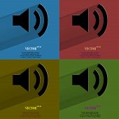 Color set Speaker. Flat modern web button with long shadow and space for your text.