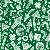 pic of tilde  - Vector seamless pattern with sketchy objects on green background - JPG