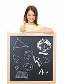 people, childhood, gesture, doodles and education concept - smiling little girl with blackboard show
