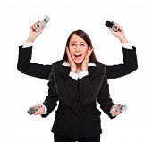 Stressed Woman With Telephones